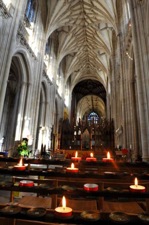 Det lange skipet i Winchester Cathedral