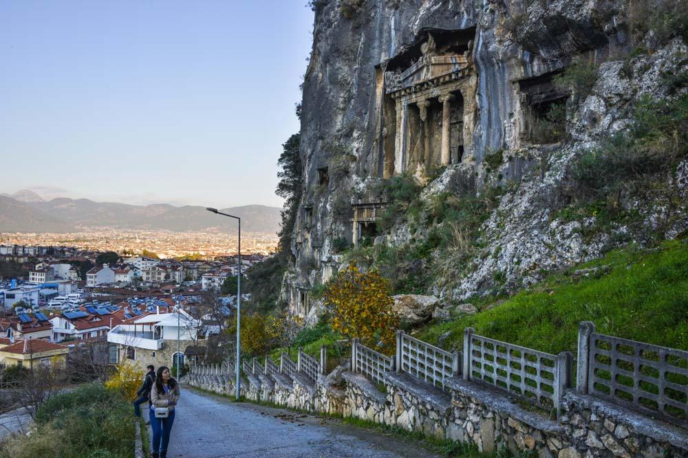 Lykiske graver i Fethiye i Tyrkia