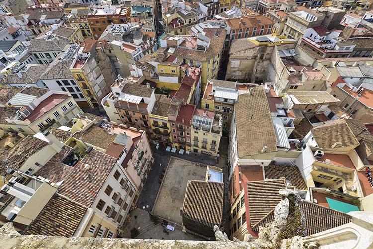 Gamlebyen i Valencia sett fra tårnet i katedralen