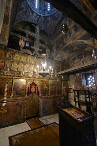 Ikonostasen i klosteret og severdigheten Sveti Naum i Makedonia