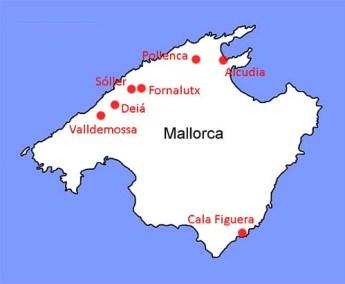 Kart over landsbyer på Mallorca