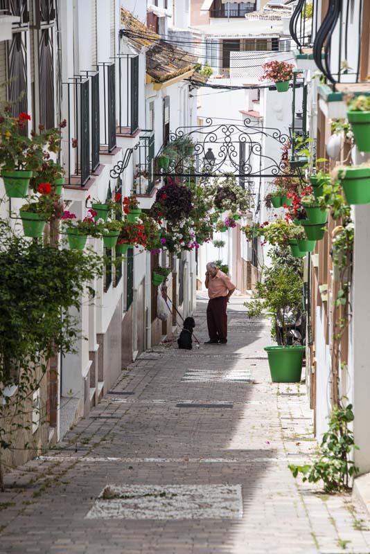 Blomsterkasser i en bakgate i Estepona