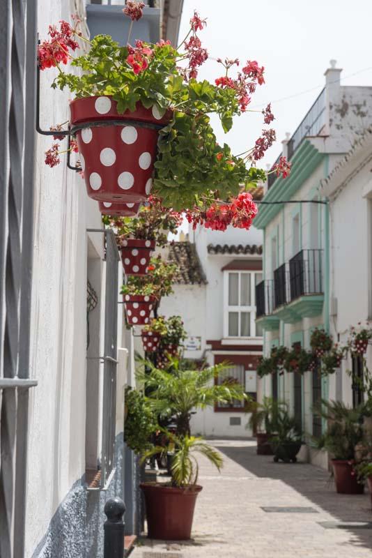 Røde og hvite blomsterkasser i Estepona