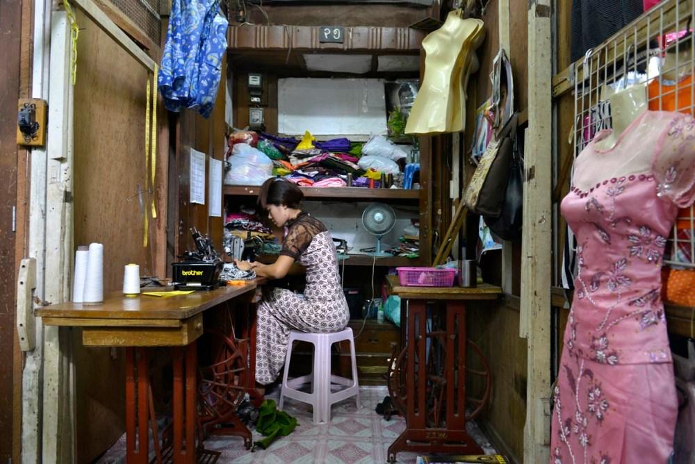 En skredderbutikk i Yangon