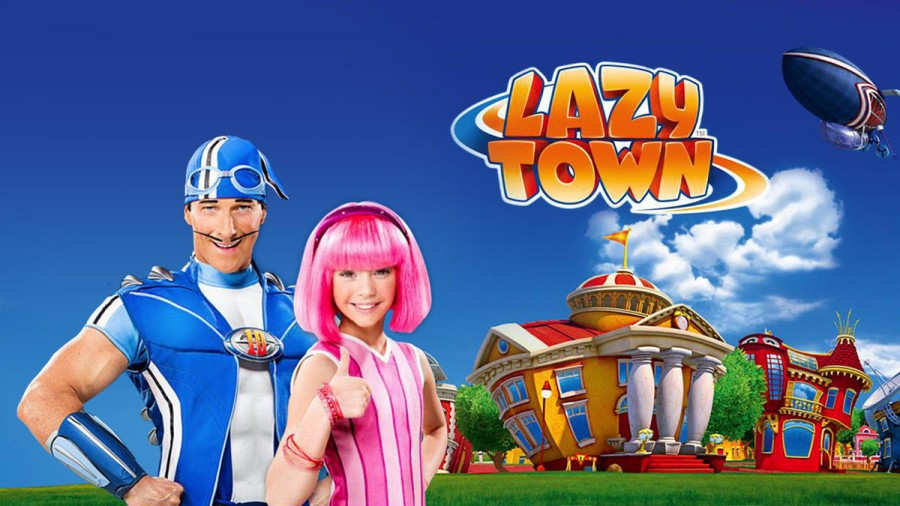 LazyTown title image with Sportacus and Stephanie