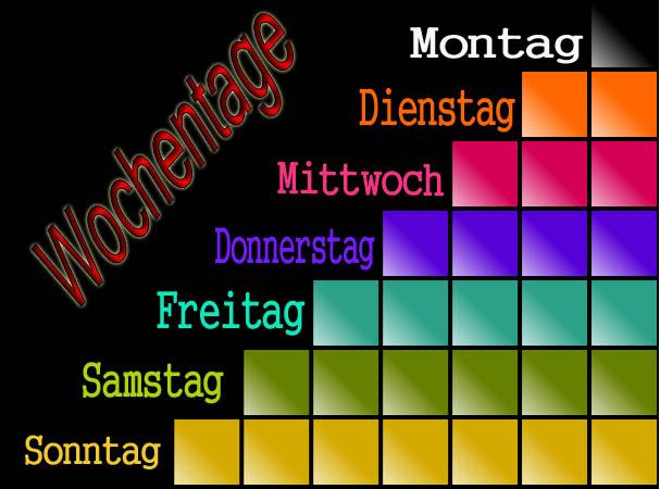 أيام الأسبوع في اللغة الالمانية - الفرويند