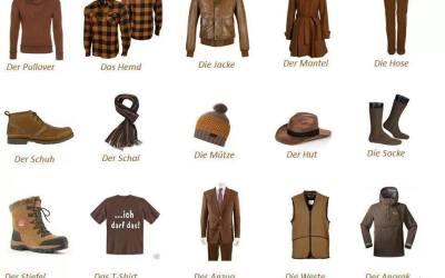 الملابس في اللغة الالمانية