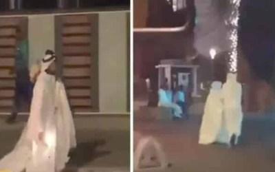 فتاة سعودية تتجول مع عريسها بفستان الزفاف على كورنيش جدة ! ( فيديو )