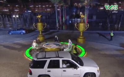امرأة تقتحم بسيارتها استوديو لقناة إماراتية خلال بث مباشر ! ( فيديو )