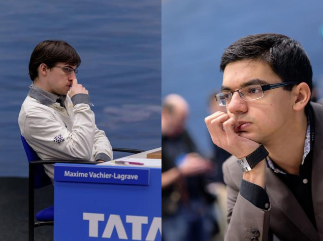 Maxime Vachier-Lagrave and Anish Giri in Tata Steel Masters 2015. Photo credit: Tata Steel Chess.