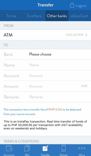 Security Bank transfer to other banks
