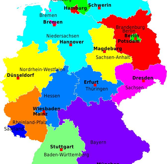 deutschland karte bundesl228nder und hauptstadt deutsch