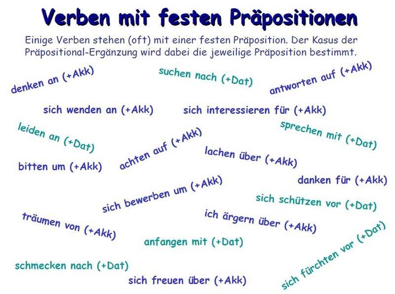 Verben Mit Präpositionen Arbeitsblatt : Verben mit festen präpositionen deutsch viel spass