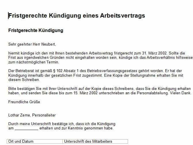 Fristgerechte Kündigung Deutsch Viel Spass