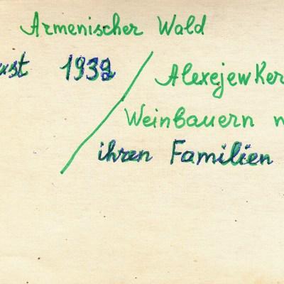 August 1932, Alexejewka, Weinbauern mit Familie, Foto Rückseite