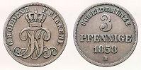 3 Pfennige, Birkenfeld 1858
