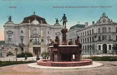 Aussig, Stadttheater Monumentalbrunnen und Mädchen-Bürgerschule