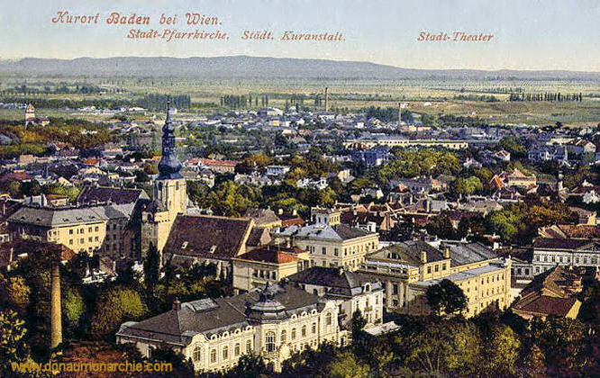 Baden bei Wien, Stadt-Pfarrkirche, Städtische Kuranstalt, Stadt-Theater
