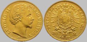Ludwig II König von Bayern - 20 (Gold) Mark, 1872