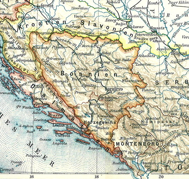 Bosnien, Karte 1900