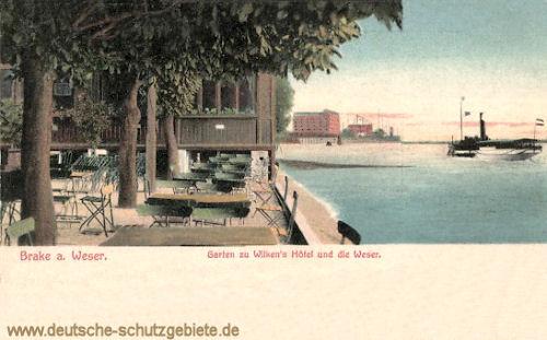 Brake, Garten zu Wilken's Hotel und die Weser