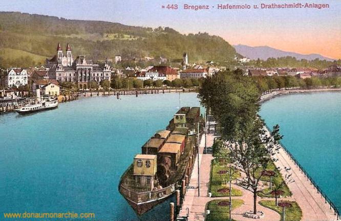 Bregenz, Hafenmolo und Drathschmidt-Anlagen