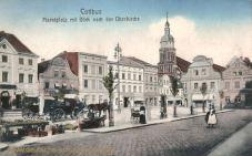 Cottbus, Marktplatz mit Blick nach der Oberkirche