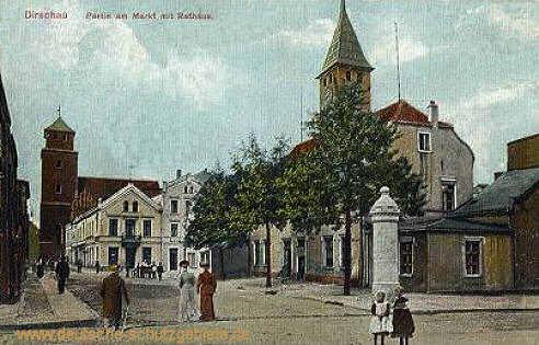 Dirschau, Partie am Markt mit Rathaus