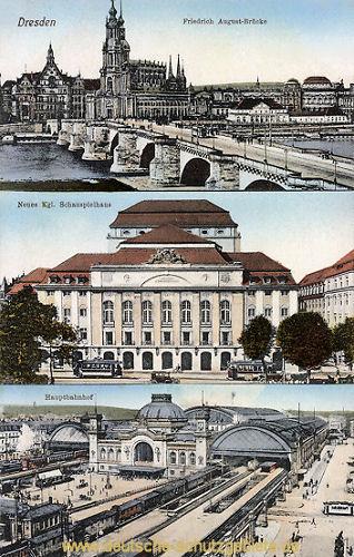 Dresden, Brücke, Schauspielhaus, Hauptbahnhof