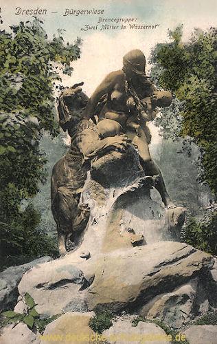 Dresden, Bürgerwiese Bronzegruppe, Zwei Mütter in Wassernot
