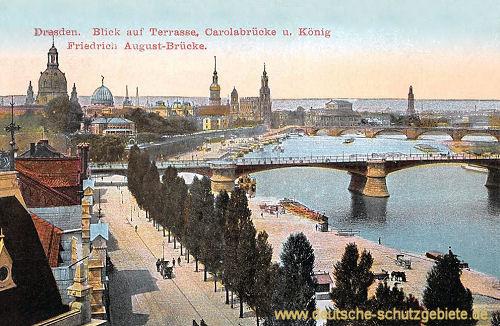 Dresden, Terrasse, Carolabrücke und König Friedrich August-Brücke