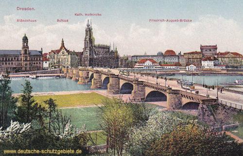 Dresden, Ständehaus, Schloss, Kath. Hofkirche, Friedrich August-Brücke