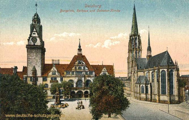 Duisburg, Burgplatz, Rathaus und Salvator-Kirche