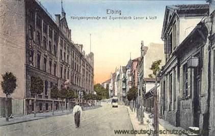 Elbing, Königsbergerstraße mit Zigarettenfabrik Loeser & Wolff