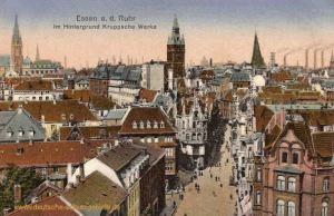 Essen an der Ruhr, Im Hintergrund Kruppsche Werke