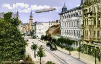 Forst i. L., Luftschiff Hansa über der Stadt