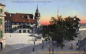 Fribourg, L'Hotel de Ville et le Tilleul de Morat