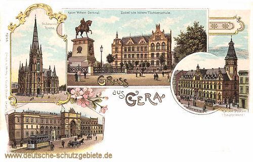 Gruß aus Gera, Johanniskirche, Hauptpostamt, Zabel'sche höhere Töchterschule, Hauptbahnhof