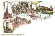 Gruß aus Gera, Johanniskirche, Ferberturm, Liebe-Denkmal, Rathaus, Post, Schloss Osterstein