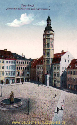 Gera, Markt mit Rathaus u. große Kirchgasse