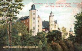 Glauchau, Gräfl. Schönburgsches Schloss mit Blick nach der Kirche