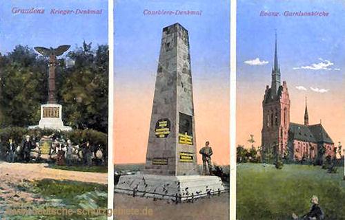 Graudenz, Kriegerdenkmal, Courbière-Denkmal, Evangelische Garnisonskirche