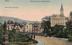 Greiz, Kaiser Wilhelm-Denkmal, Obere Brücke und unteres Schloss