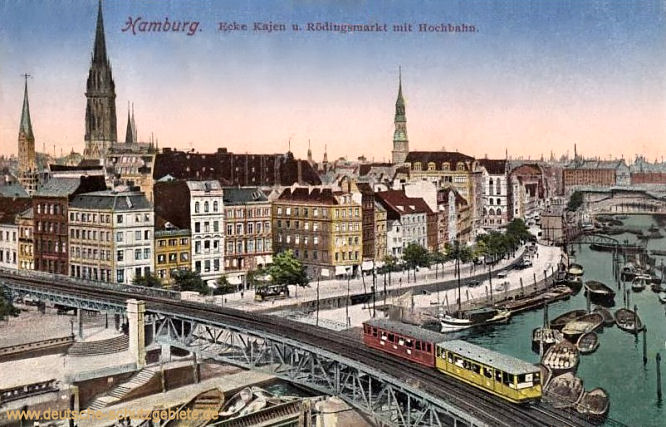 Hamburg, Ecke Kajen und Rödingsmarkt mit Hochbahn