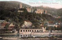 Heidelberg, Schloss und Molkenkur von der Hirschgasse
