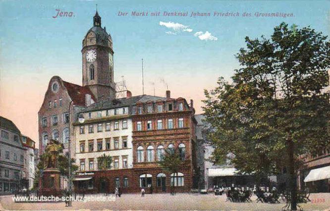 Jena, Der Markt mit Denkmal Johann Friedrich des Grossmütigen