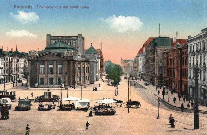 Kattowitz , Friedrichsplatz mit Stadttheater