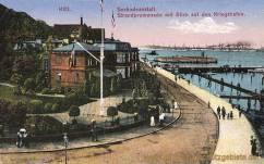 Kiel, Seebadeanstalt, Strandpromenade mit Blick auf den Kriegshafen