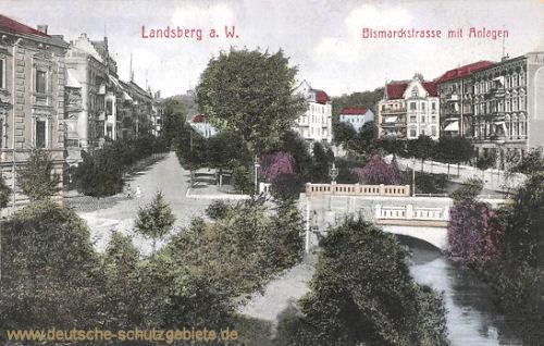 Landsberg a. W., Bismarckstraße mit Anlagen