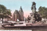 Landsberg a. W., Markt, St. Marienkirche und Pauckschbrunnen